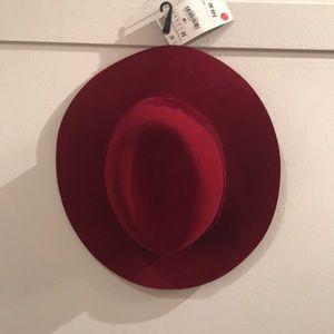 Red zara floppy fedora